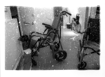 Looking behind the surface - (wheelchair clinic) - 2 (2002-2009), b/w photograph