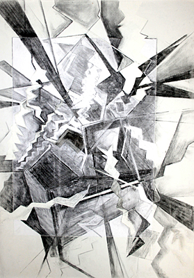 Stroke Unit - Ceiling tiles - (2008), charcoal on paper