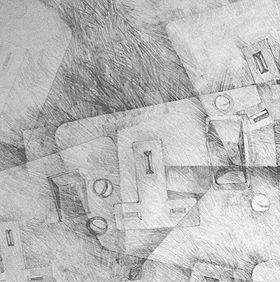 Stroke Unit - Electrical sockets 2 (detail) (2008), graphite on paper
