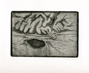 Brain Landscape, Landscape Brain, soft ground etching